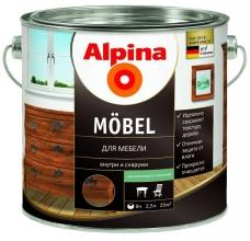 Лак акриловый Alpina Moebel для мебели шелковисто-матовый 2,5 л
